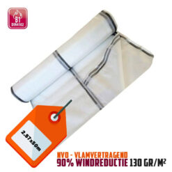 Wit steigernet 2.57x50m 130gr/m² NVO 90% windreductie