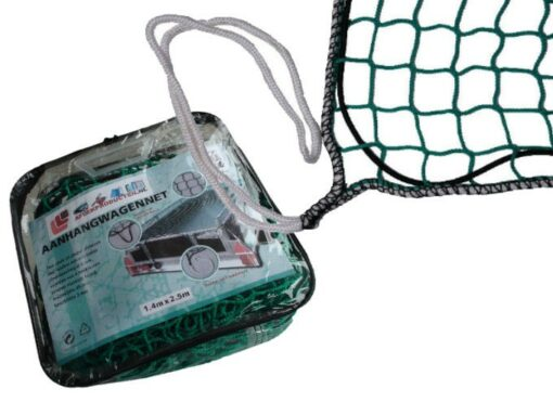 Aanhangwagennet 150x200cm groen met elast. koord en 4 hoeklussen