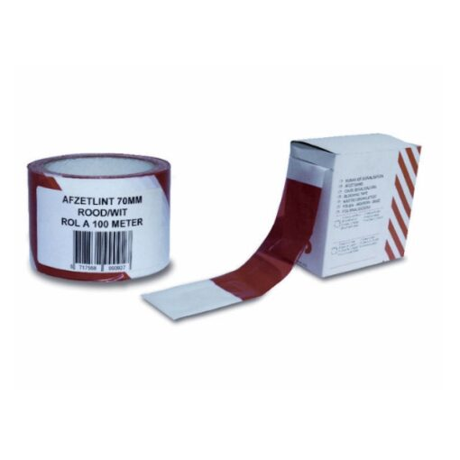 Afzetling, markeerlint, afzetband, rood-wit, rol 70mmx100mtr