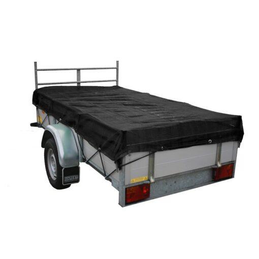 Zwart fijnmazig aanhangwagennet 140x250cm incl. elast. koord