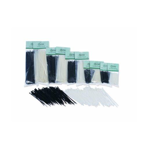 Tie-rips, tie-wraps, kabelbinders, 100x2.5mm, wit, 200 stuks